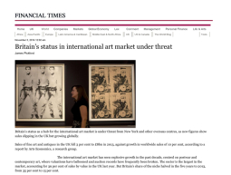 Britain's status in international art market under threat – Financial Times – November 3rd 2014